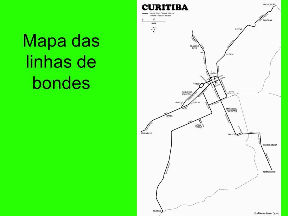 Mapa das linhas de bondes