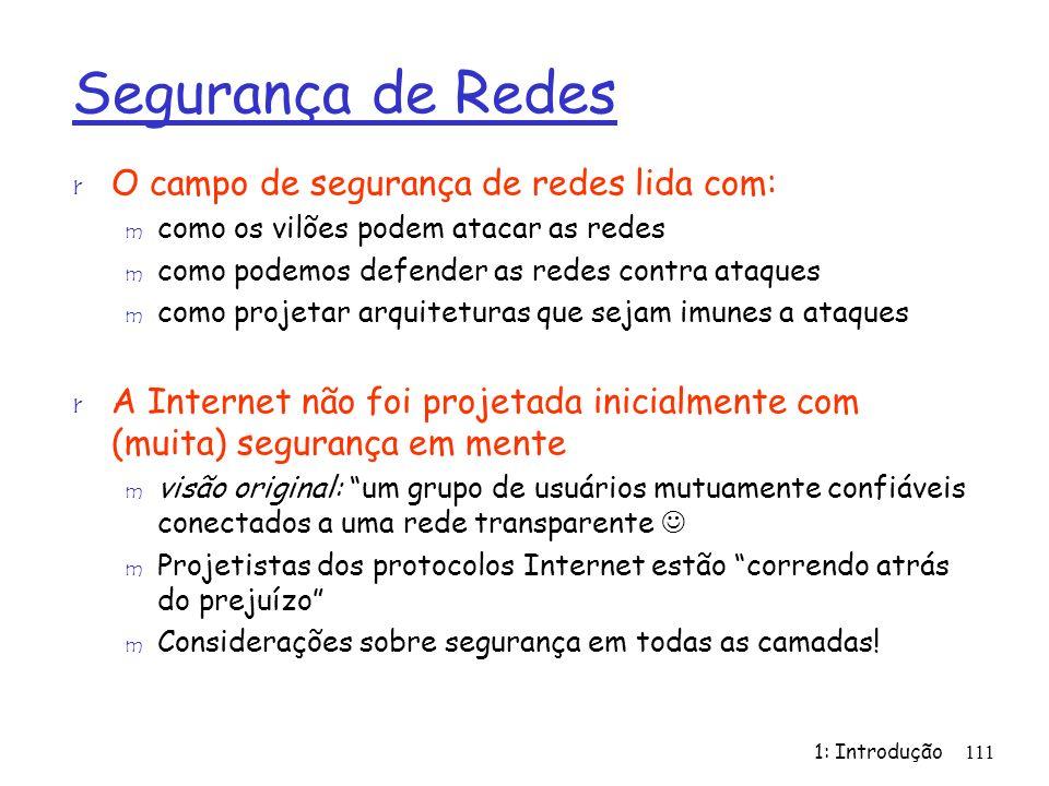 Segurança de Redes O campo de segurança de redes lida com: