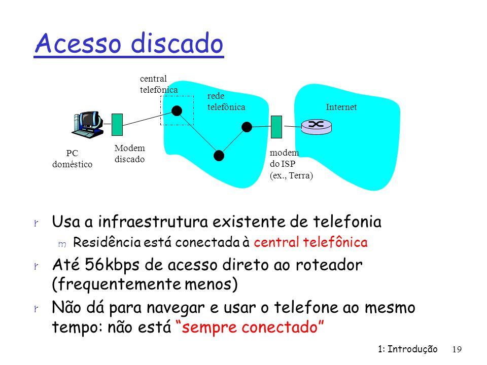 Acesso discado Usa a infraestrutura existente de telefonia
