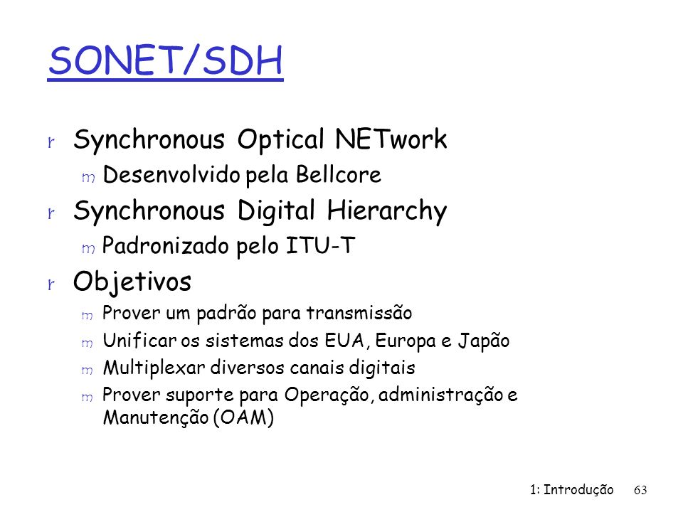 SONET/SDH Synchronous Optical NETwork Synchronous Digital Hierarchy