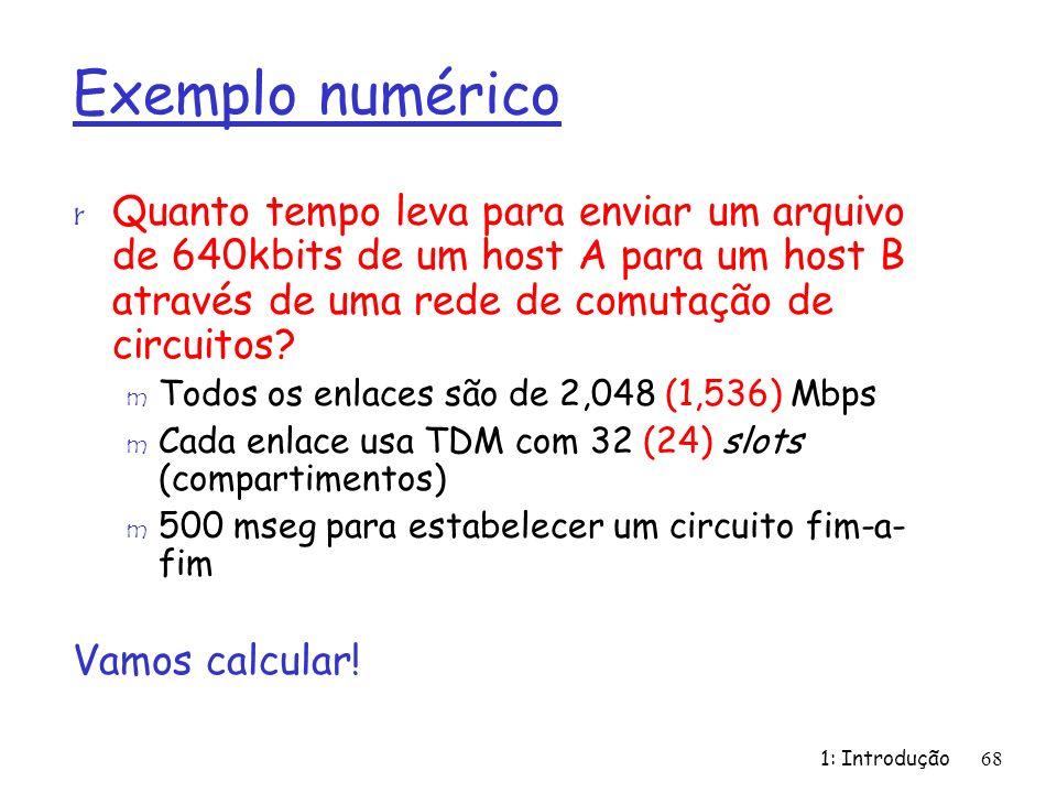 Exemplo numérico Quanto tempo leva para enviar um arquivo de 640kbits de um host A para um host B através de uma rede de comutação de circuitos