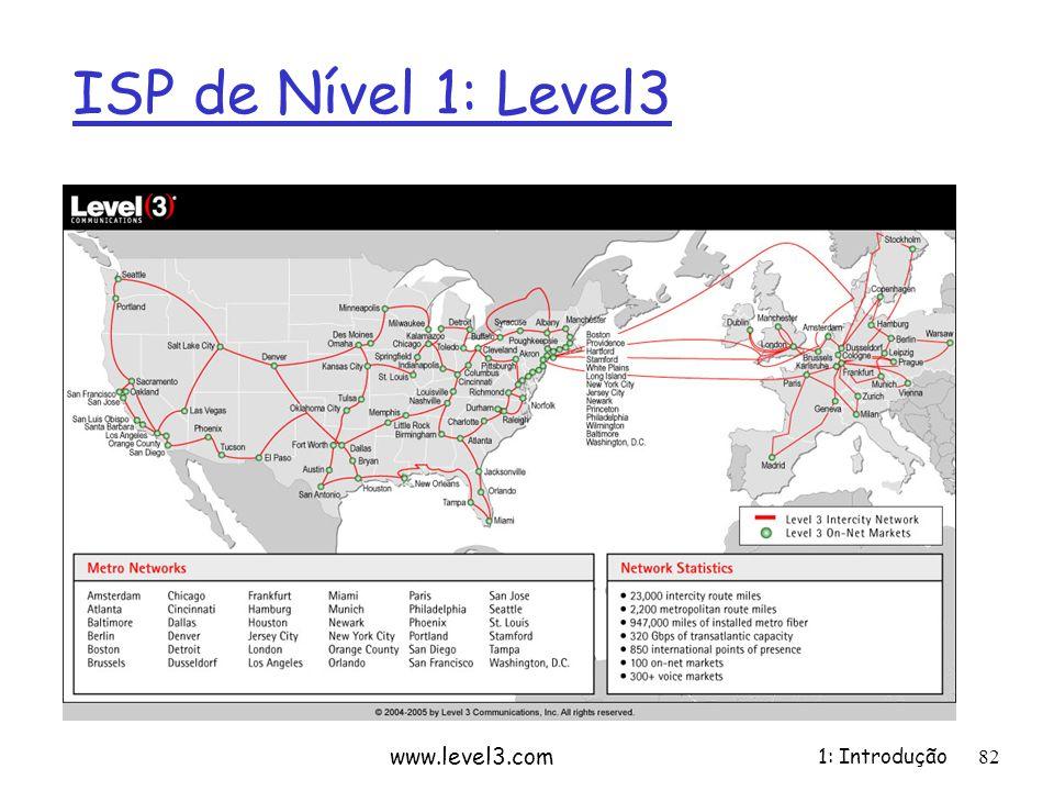 ISP de Nível 1: Level3 www.level3.com 1: Introdução