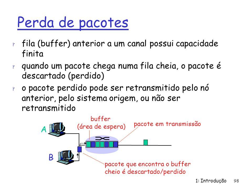 Perda de pacotes fila (buffer) anterior a um canal possui capacidade finita. quando um pacote chega numa fila cheia, o pacote é descartado (perdido)