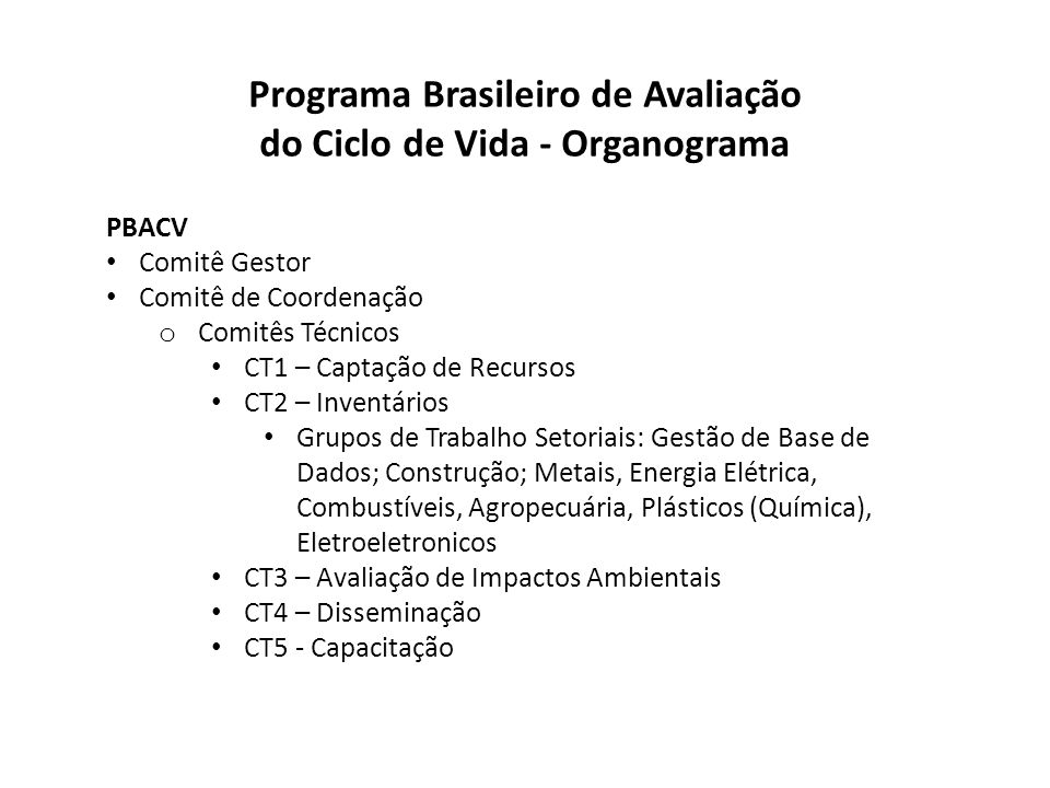 Programa Brasileiro de Avaliação do Ciclo de Vida - Organograma