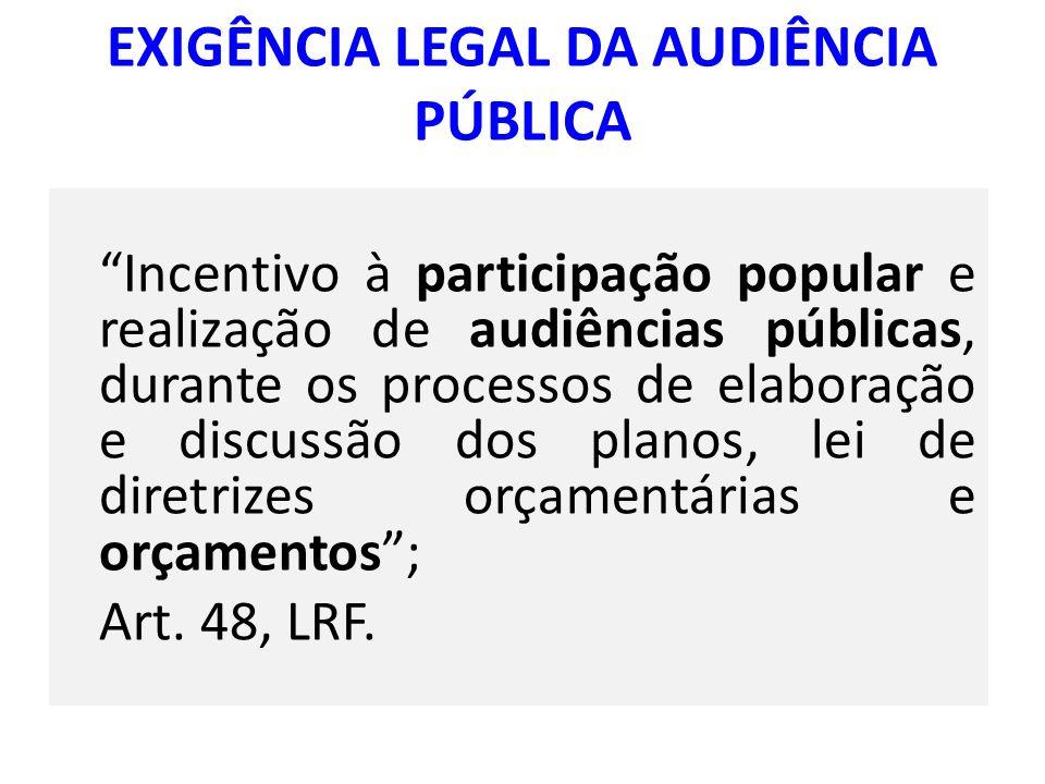 EXIGÊNCIA LEGAL DA AUDIÊNCIA PÚBLICA