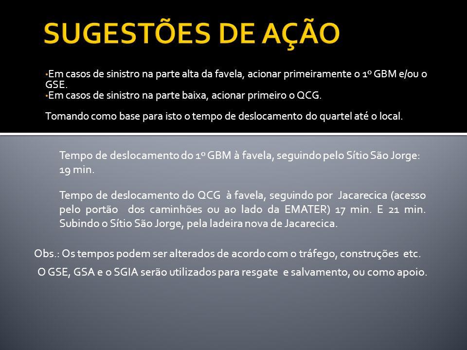 SUGESTÕES DE AÇÃO Em casos de sinistro na parte alta da favela, acionar primeiramente o 1º GBM e/ou o GSE.