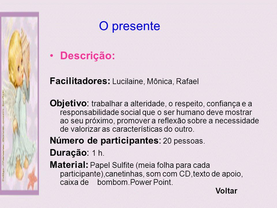 O presente Descrição: Facilitadores: Lucilaine, Mônica, Rafael