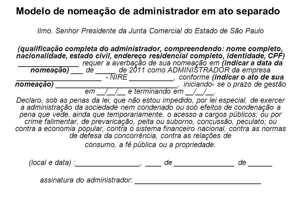 Modelo de nomeação de administrador em ato separado