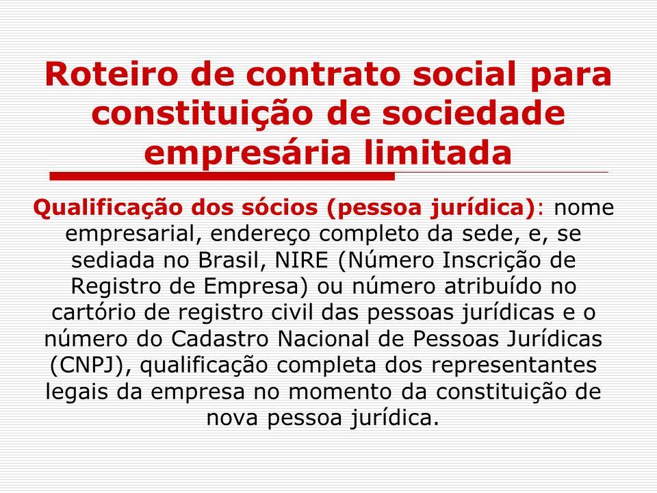 Roteiro de contrato social para constituição de sociedade empresária limitada