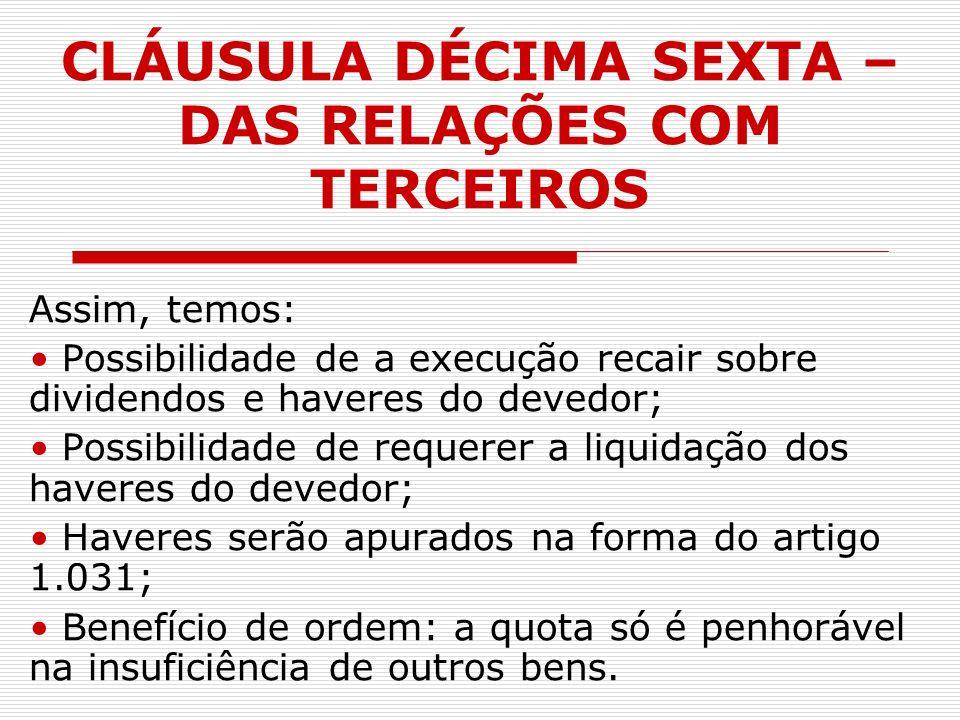 CLÁUSULA DÉCIMA SEXTA – DAS RELAÇÕES COM TERCEIROS