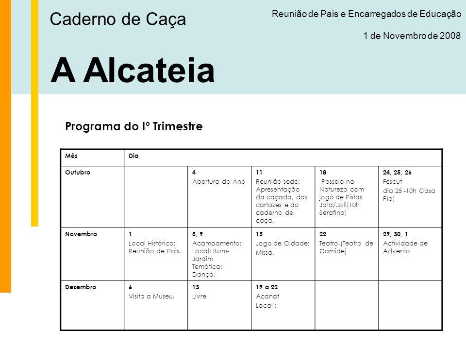 A Alcateia Caderno de Caça Programa do Iº Trimestre