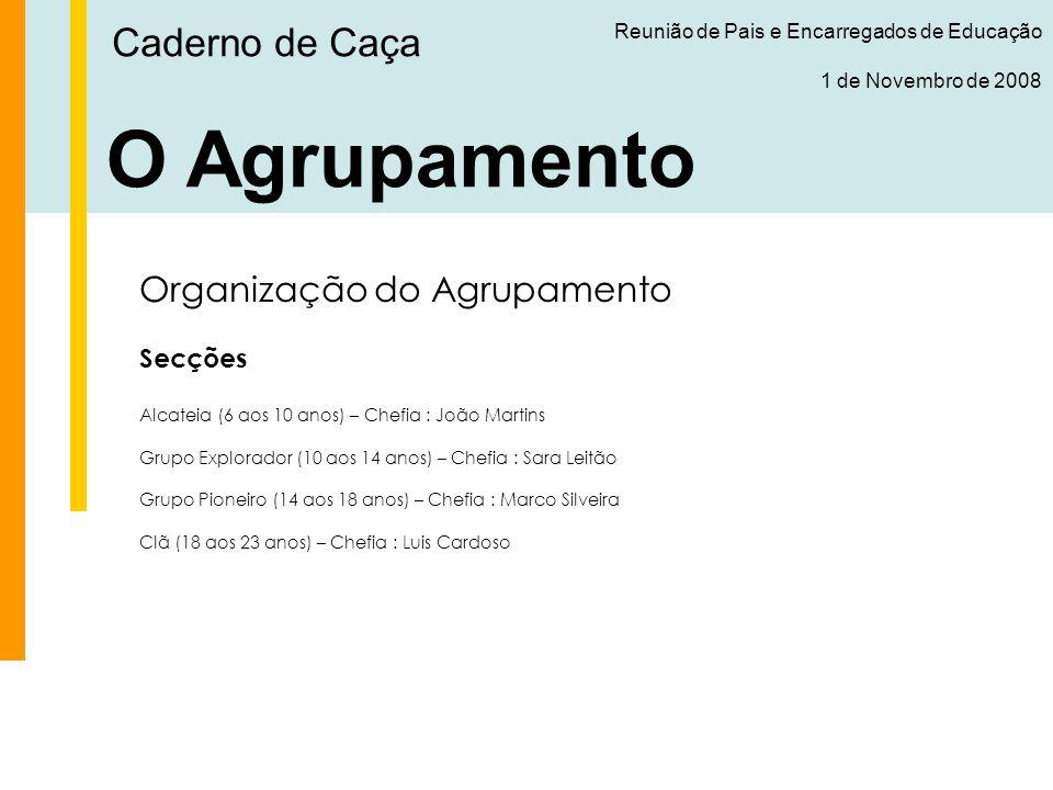 O Agrupamento Caderno de Caça Organização do Agrupamento Secções