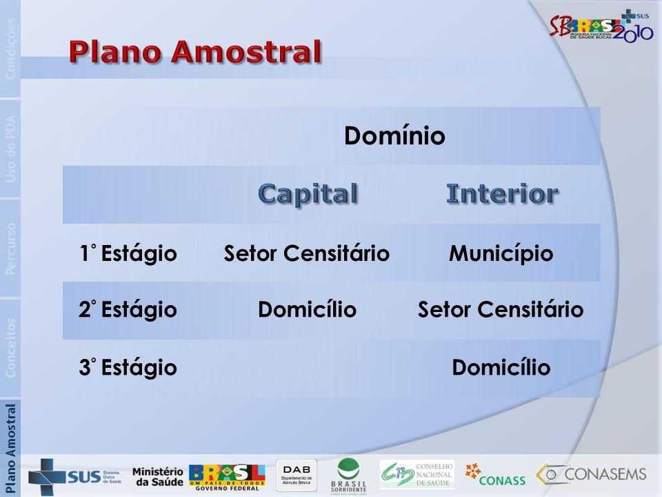 Plano Amostral Domínio Capital Interior 1º Estágio Setor Censitário