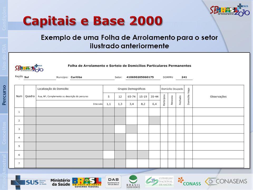 Condições Capitais e Base 2000. Exemplo de uma Folha de Arrolamento para o setor ilustrado anteriormente.