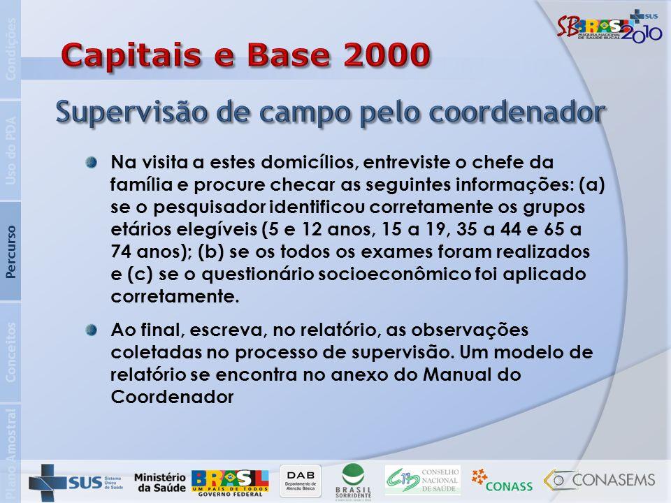 Capitais e Base 2000 Supervisão de campo pelo coordenador