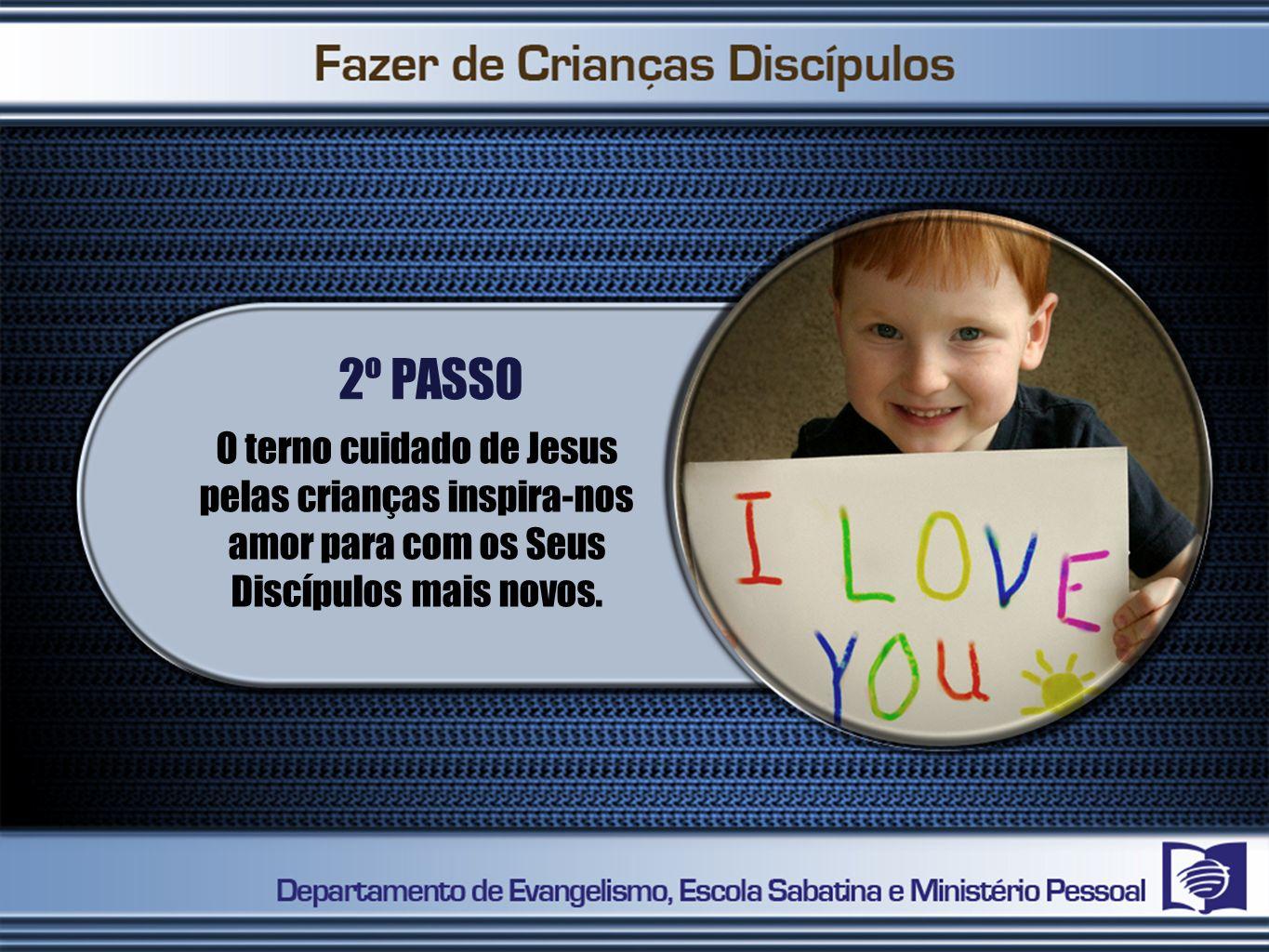 2º PASSO O terno cuidado de Jesus pelas crianças inspira-nos amor para com os Seus Discípulos mais novos.