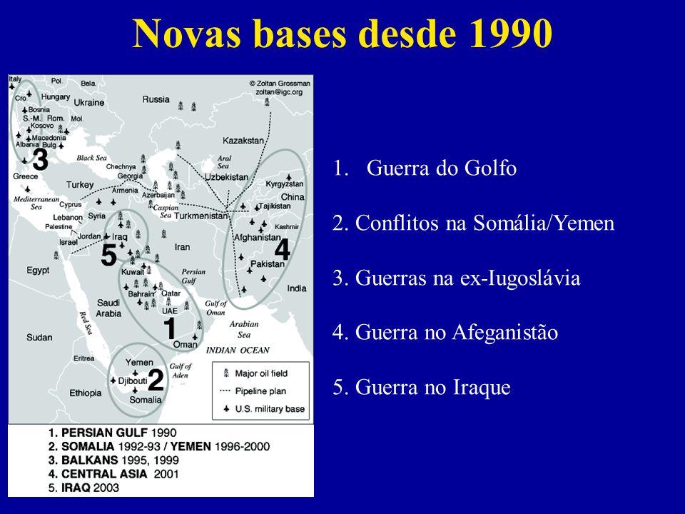 Novas bases desde 1990 Guerra do Golfo 2. Conflitos na Somália/Yemen