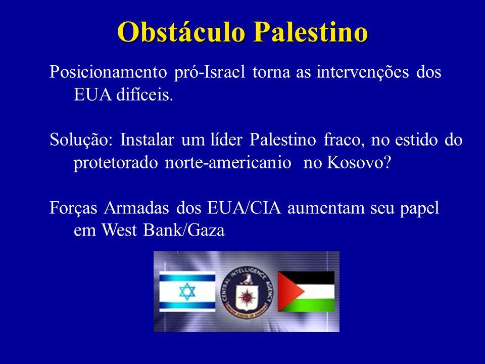 Obstáculo Palestino Posicionamento pró-Israel torna as intervenções dos EUA difíceis.