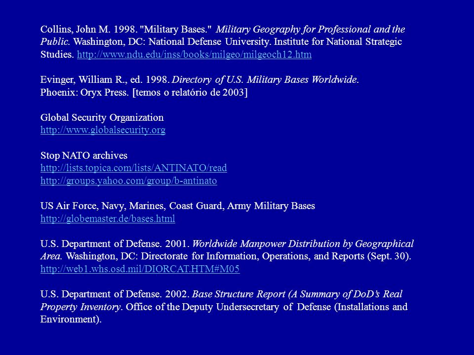Collins, John M. 1998. Military Bases