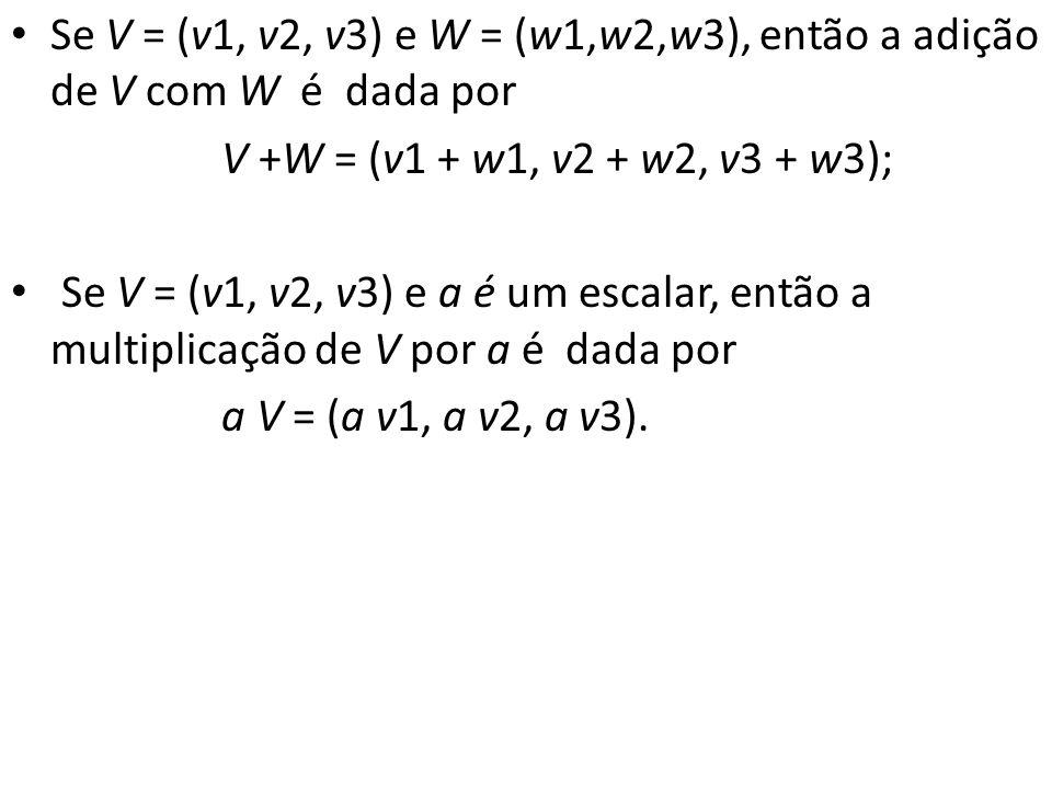 Se V = (v1, v2, v3) e W = (w1,w2,w3), então a adição de V com W é dada por