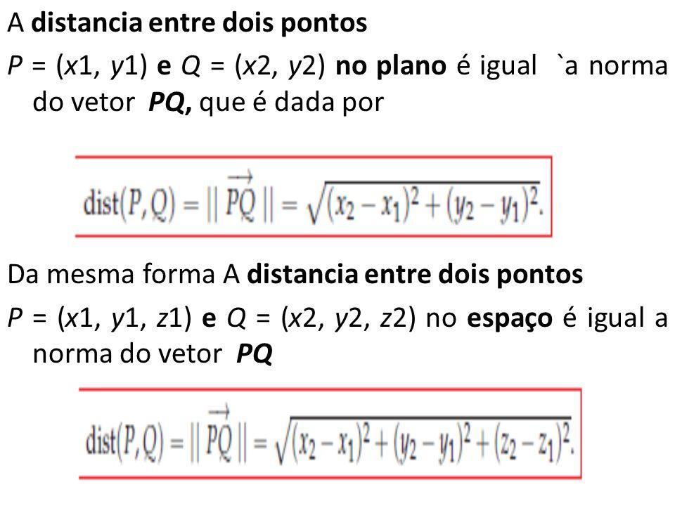 A distancia entre dois pontos P = (x1, y1) e Q = (x2, y2) no plano é igual `a norma do vetor PQ, que é dada por Da mesma forma A distancia entre dois pontos P = (x1, y1, z1) e Q = (x2, y2, z2) no espaço é igual a norma do vetor PQ