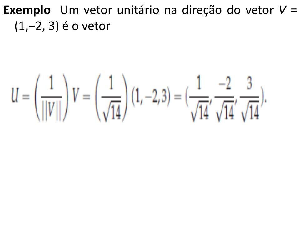 Exemplo Um vetor unitário na direção do vetor V = (1,−2, 3) é o vetor