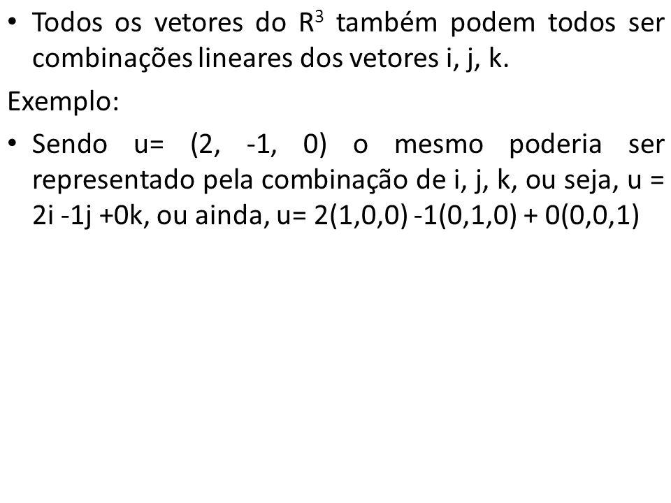 Todos os vetores do R3 também podem todos ser combinações lineares dos vetores i, j, k.