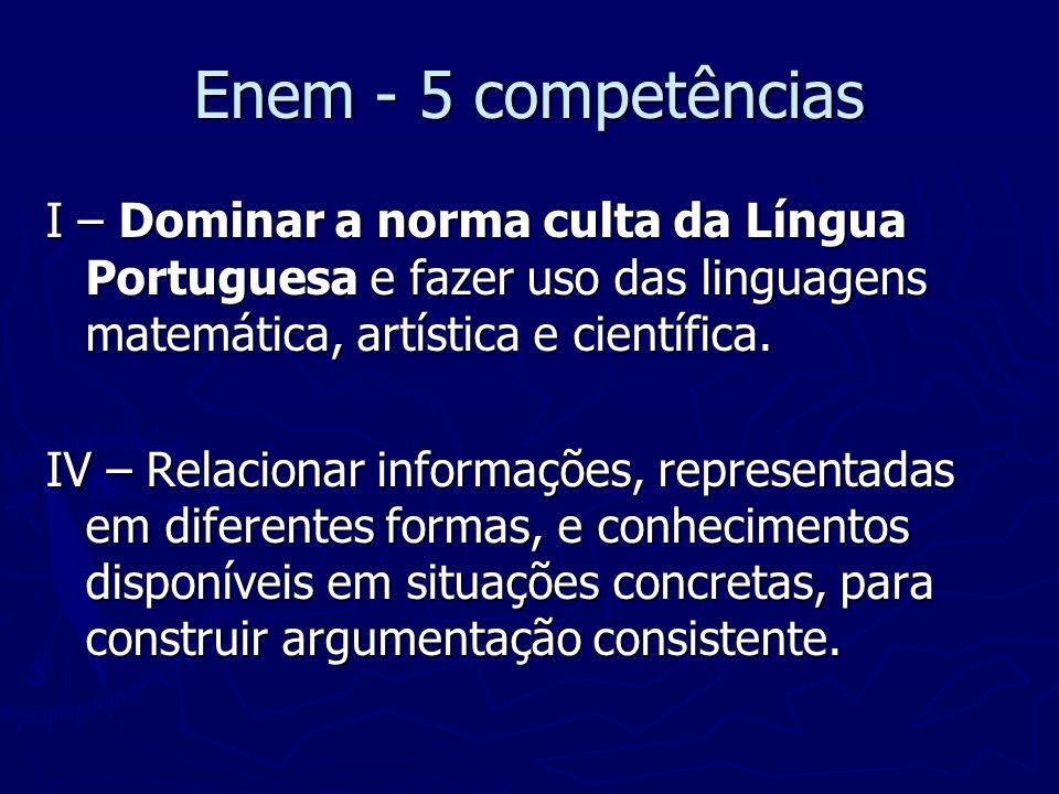 Enem - 5 competências I – Dominar a norma culta da Língua Portuguesa e fazer uso das linguagens matemática, artística e científica.