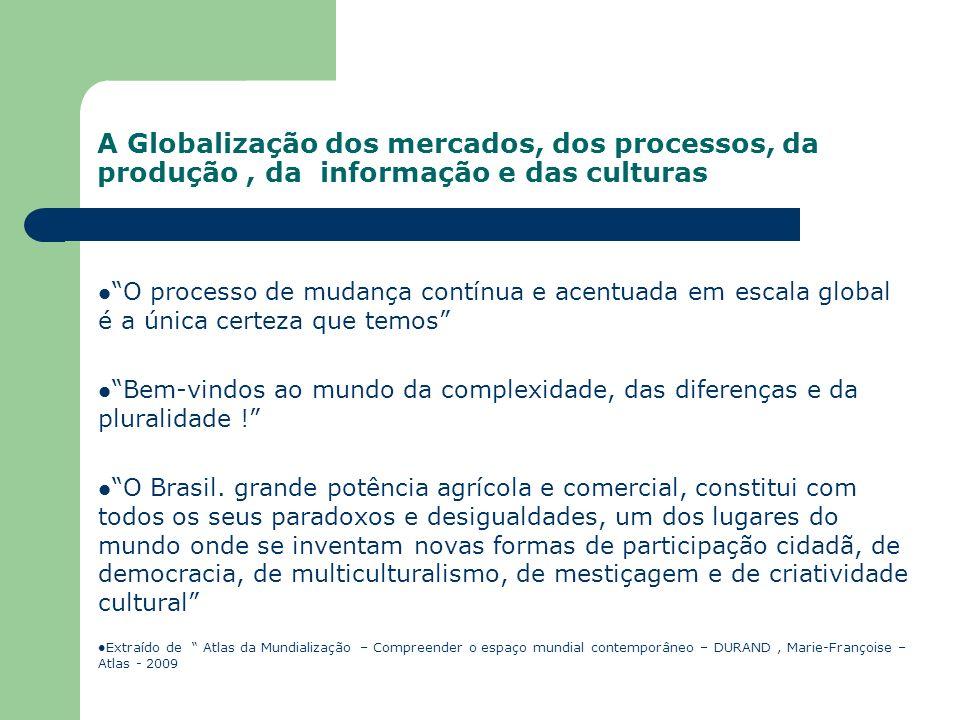 A Globalização dos mercados, dos processos, da produção , da informação e das culturas
