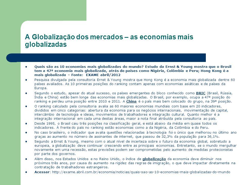 A Globalização dos mercados – as economias mais globalizadas