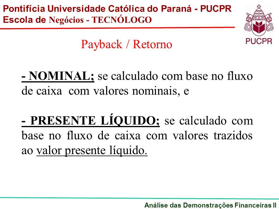 - NOMINAL; se calculado com base no fluxo de caixa com valores nominais, e