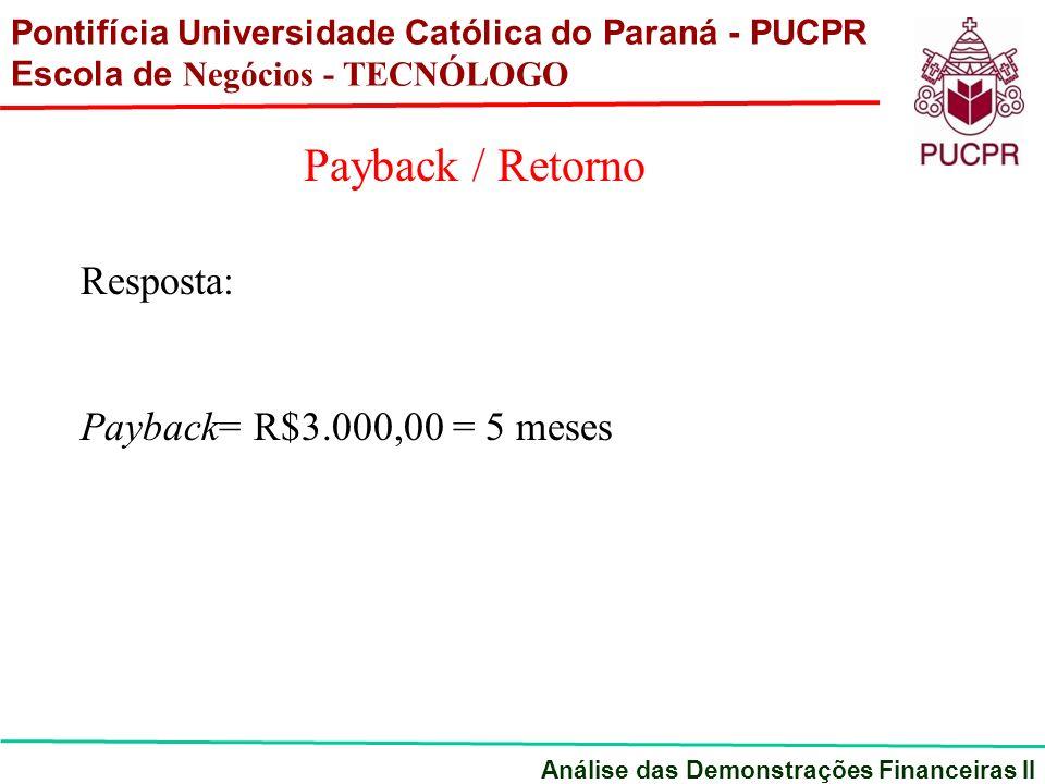 Resposta: Payback= R$3.000,00 = 5 meses