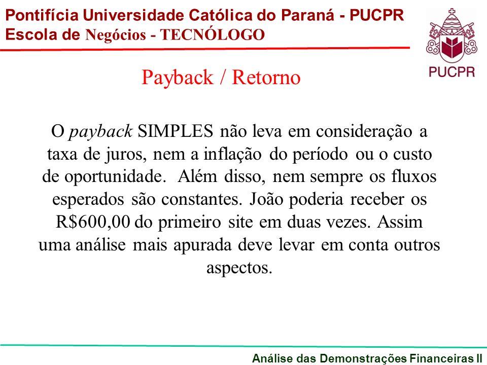 O payback SIMPLES não leva em consideração a taxa de juros, nem a inflação do período ou o custo de oportunidade.