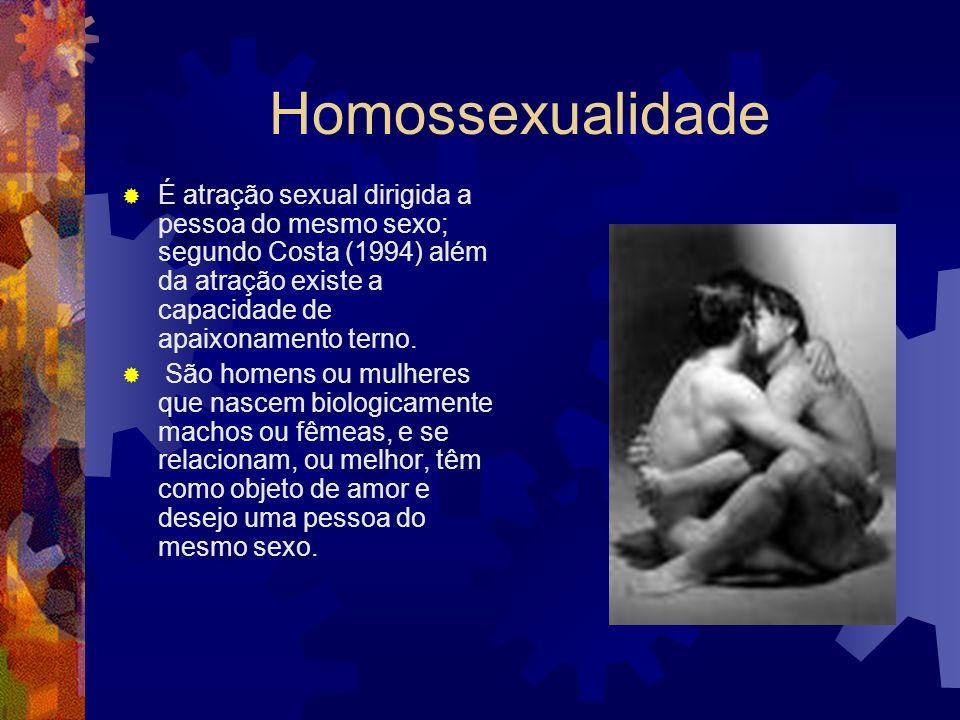 Homossexualidade É atração sexual dirigida a pessoa do mesmo sexo; segundo Costa (1994) além da atração existe a capacidade de apaixonamento terno.