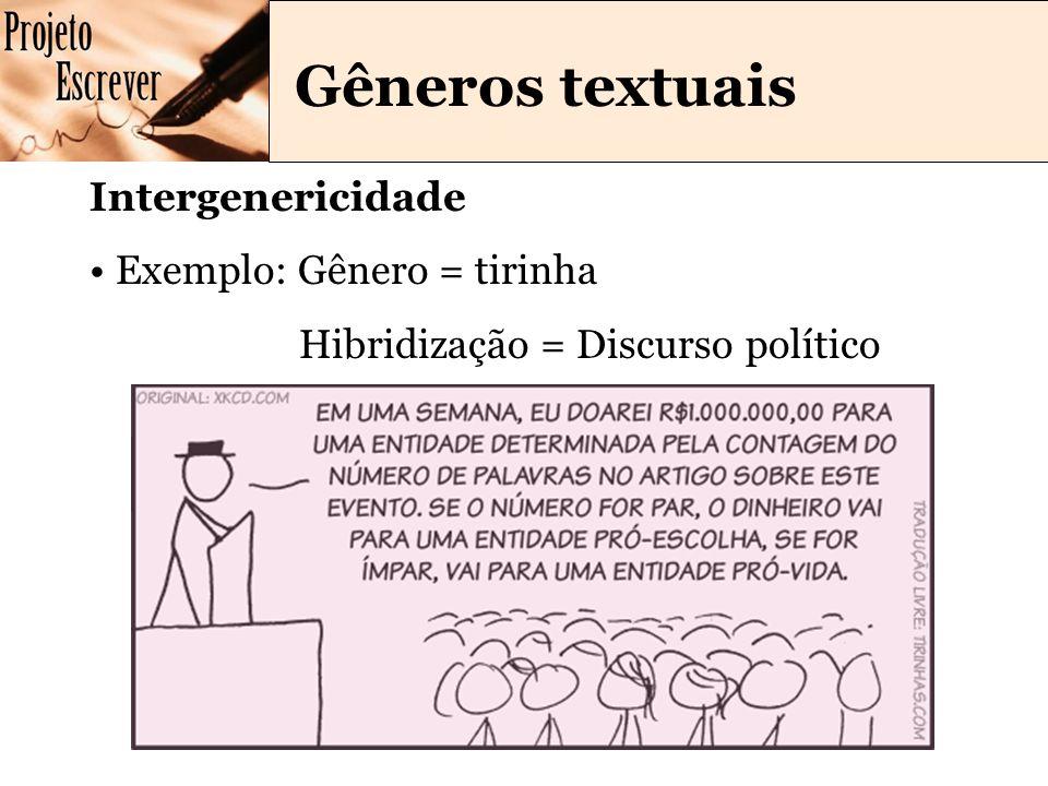 Gêneros textuais Intergenericidade Exemplo: Gênero = tirinha