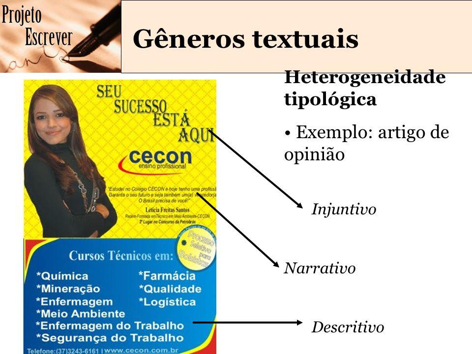 Gêneros textuais Heterogeneidade tipológica Exemplo: artigo de opinião