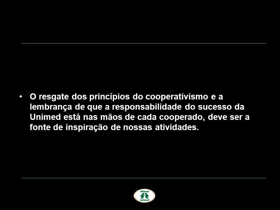 O resgate dos princípios do cooperativismo e a lembrança de que a responsabilidade do sucesso da Unimed está nas mãos de cada cooperado, deve ser a fonte de inspiração de nossas atividades.
