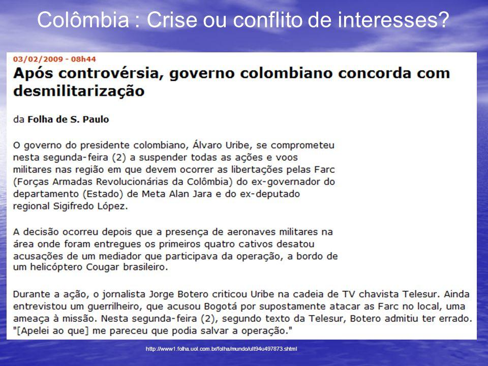 Colômbia : Crise ou conflito de interesses