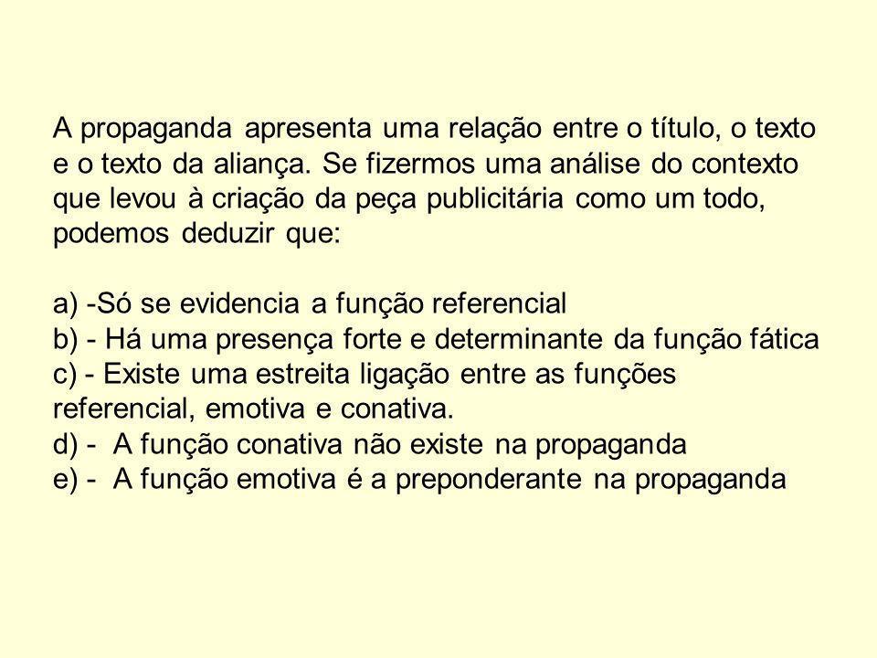 A propaganda apresenta uma relação entre o título, o texto e o texto da aliança.