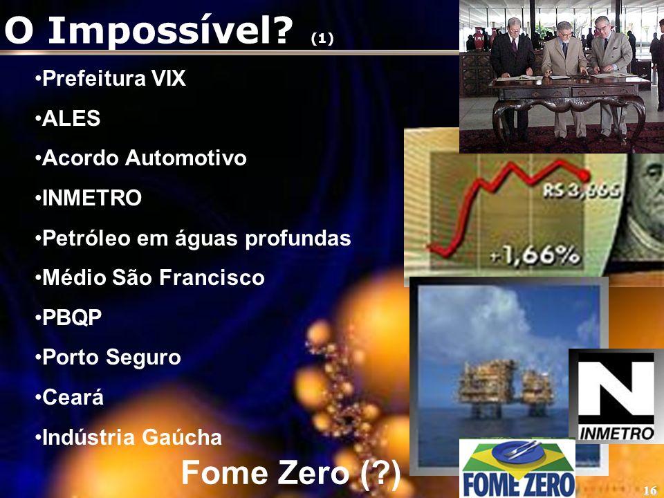 O Impossível (1) Fome Zero ( ) Prefeitura VIX ALES Acordo Automotivo