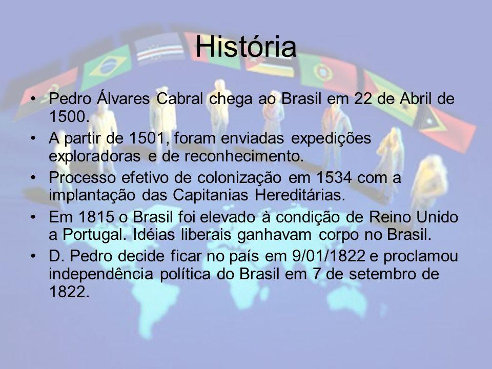 História Pedro Álvares Cabral chega ao Brasil em 22 de Abril de 1500.