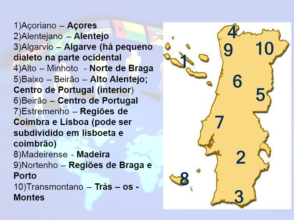 1)Açoriano – Açores 2)Alentejano – Alentejo. 3)Algarvio – Algarve (há pequeno dialeto na parte ocidental.