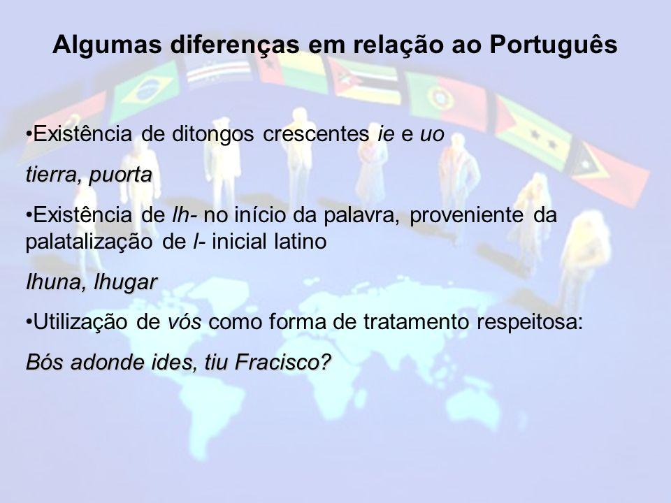 Algumas diferenças em relação ao Português