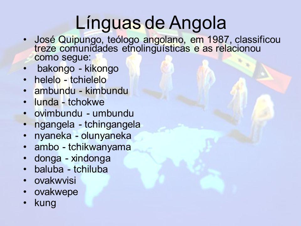 Línguas de Angola José Quipungo, teólogo angolano, em 1987, classificou treze comunidades etnolinguísticas e as relacionou como segue: