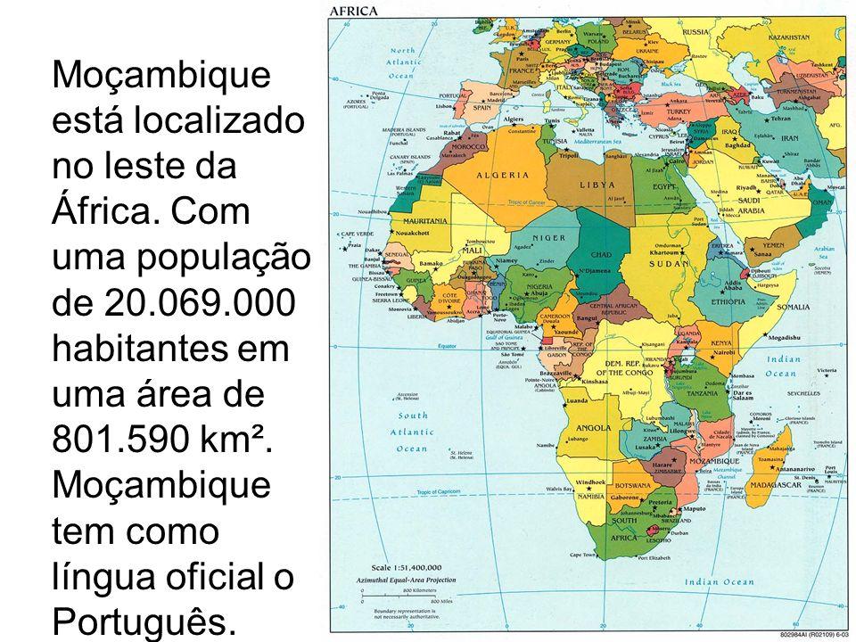 Moçambique está localizado no leste da África. Com uma população de 20