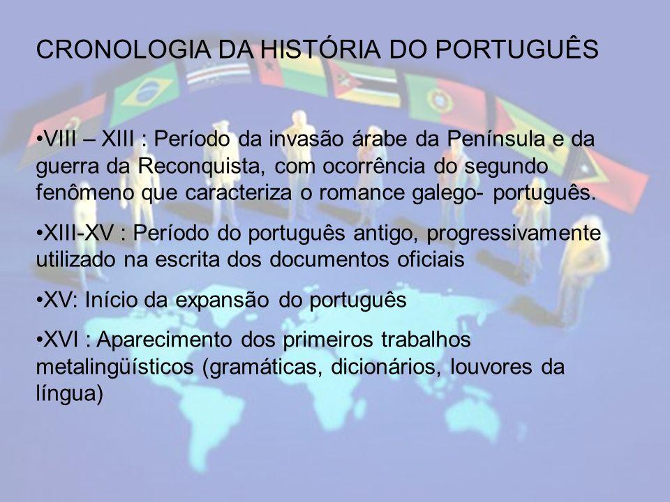 CRONOLOGIA DA HISTÓRIA DO PORTUGUÊS