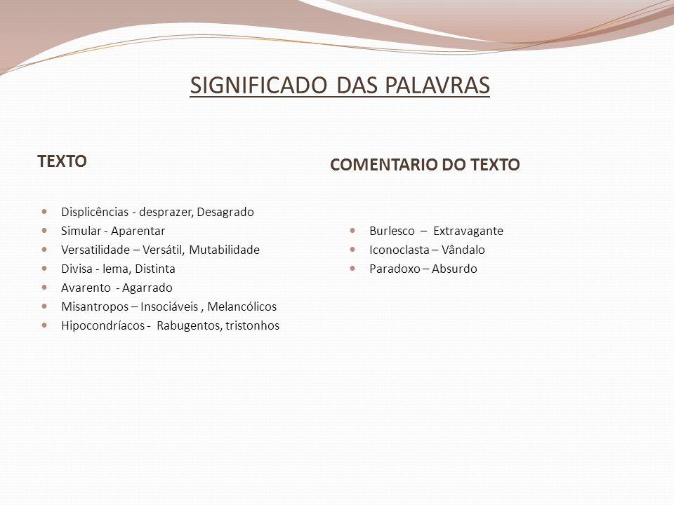 SIGNIFICADO DAS PALAVRAS