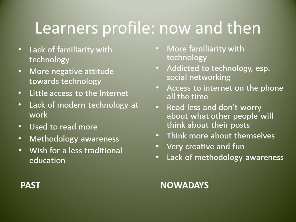 Learners profile: now and then
