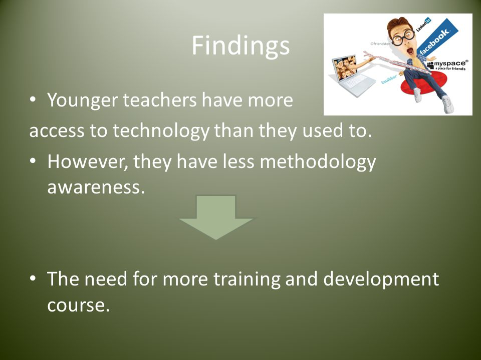 Findings Younger teachers have more