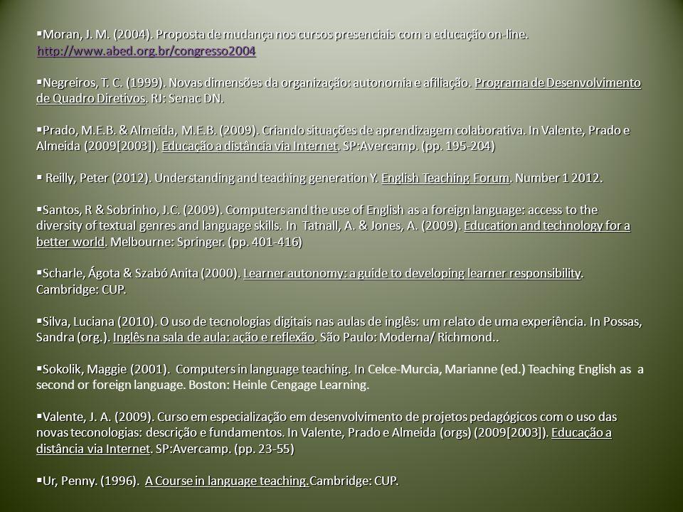 Moran, J. M. (2004). Proposta de mudança nos cursos presenciais com a educação on-line. http://www.abed.org.br/congresso2004